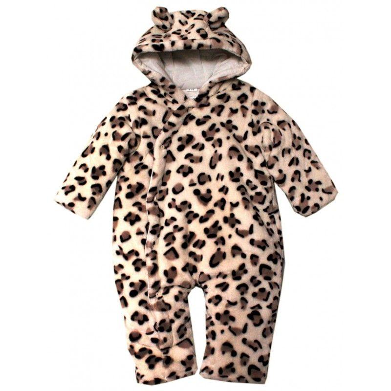 Dětská zimní kombinéza z umělé kožešiny-Levhart