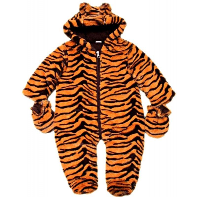Dětská zimní kombinéza z umělé kožešiny- tygří vzor