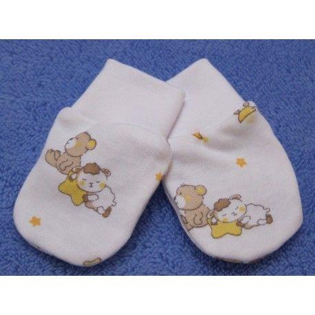 ESITO Rukavice bavlna potisk medvídek bílá/smetanová 68
