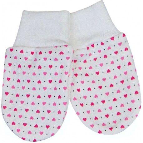 ESITO Rukavice bavlna potisk srdce srdce bílá / růžová 62