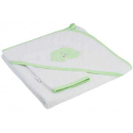 ESITO Dětská osuška s kapucí bílá - zelený lem 100 x 100 cm
