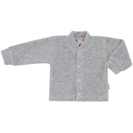 ESITO Kojenecký kabátek plyšový jednobarevný šedá melír 74
