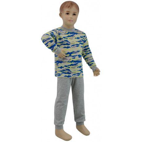 ESITO Chlapecké pyžamo žlutý maskáč vel. 116 maskáč modrá / žlutá 116