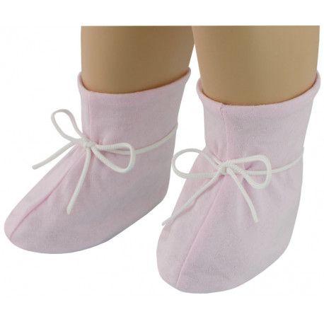 ESITO Kojenecké botičky bavlna tkané srdce růžová 2 - 5 měsíců