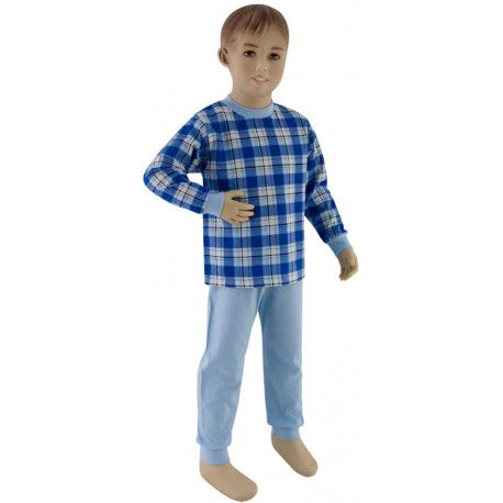 ESITO Chlapecké pyžamo tmavé modré kostky vel. 92 - 110 tmavé modré kostky 92