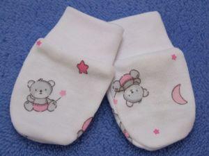 ESITO Rukavice bavlna potisk medvídek bílá/růžová 62